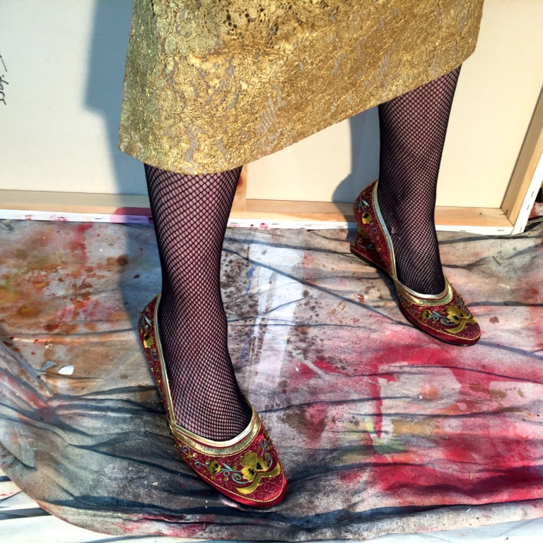 Beaded silk covered shoes from  Fenwick  London. Actually not a good call with the fishnets, lots of snagging but YOLO