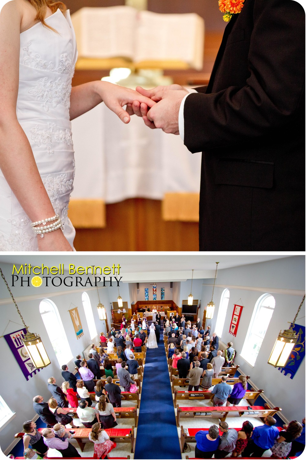 The ring exchange and a view from the balcony.