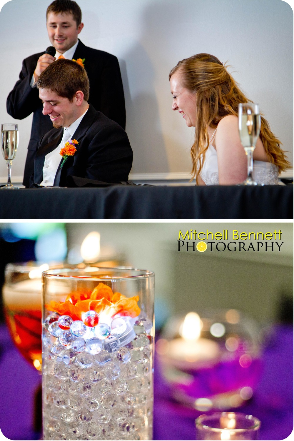 The reception was beautifully decorated, and had a light-hearted, personal atmosphere.