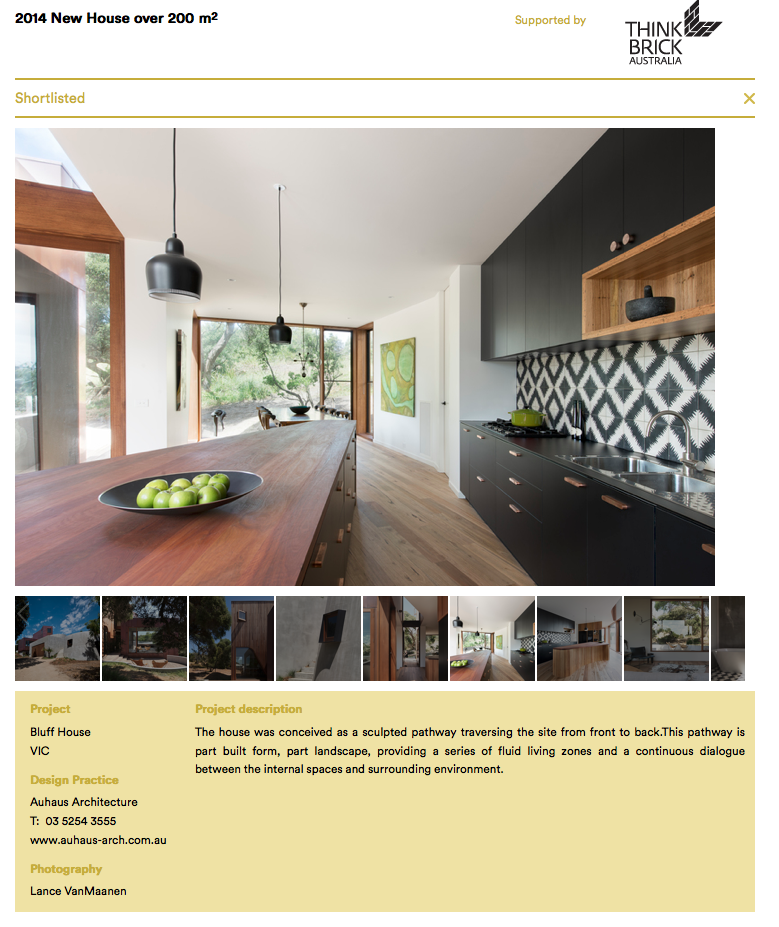 Bluff House Shortlisted For The 2014 Houses Awards In The Best New House Over 200sqm Category