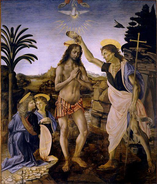 The Baptism of Christ(1472–1475)—Uffizi, by Verrocchio and Leonardo