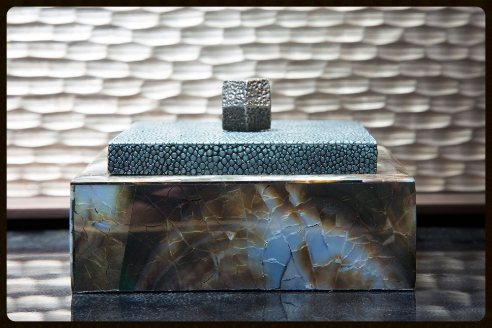Featured: The Ezra Box -This petit ornamental box is a fashioned from pure shagreen and polished black lip shell for a beautifully contrasting design visual.