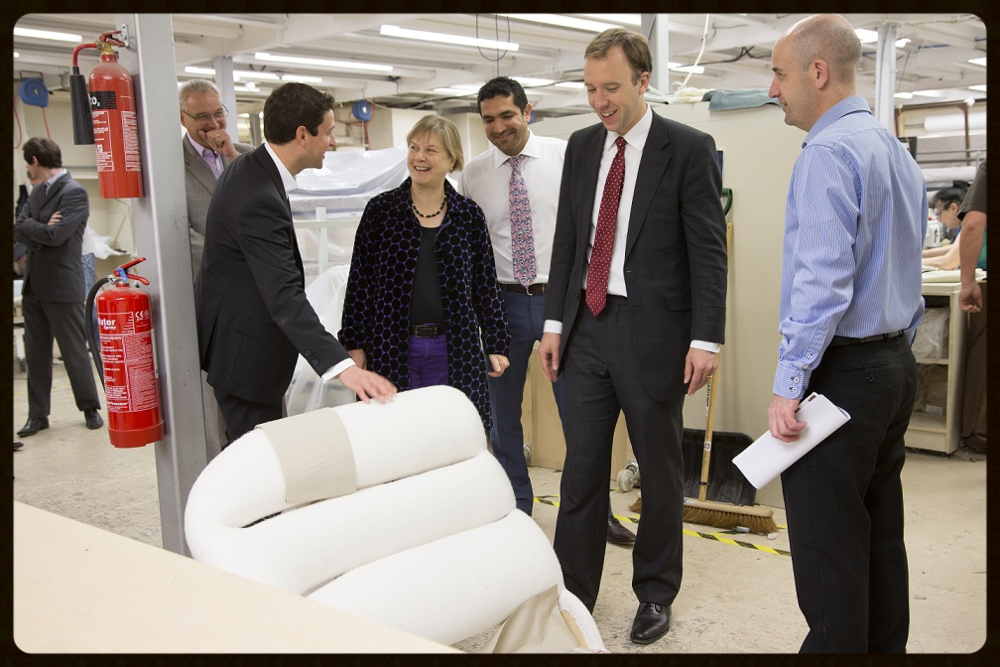 Our MD Matt showing off the signature S&C padding to MPs Angie Bray & Matt Hancock