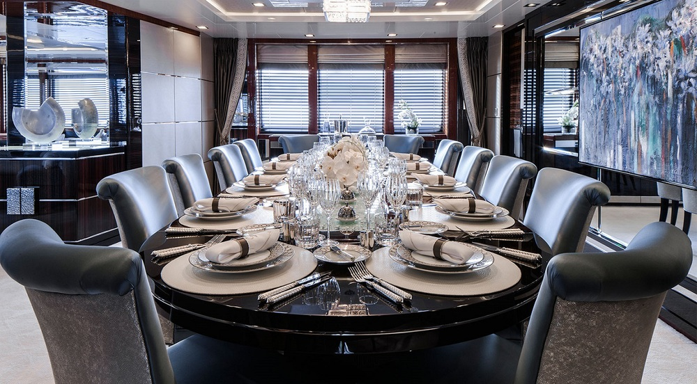 Fine dining with S&C chairs aboard the luxurious Turquoise