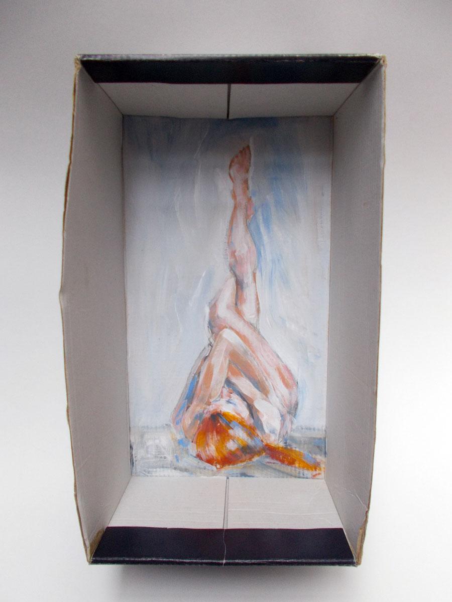 Acrylic paint on cardboard/shoebox
