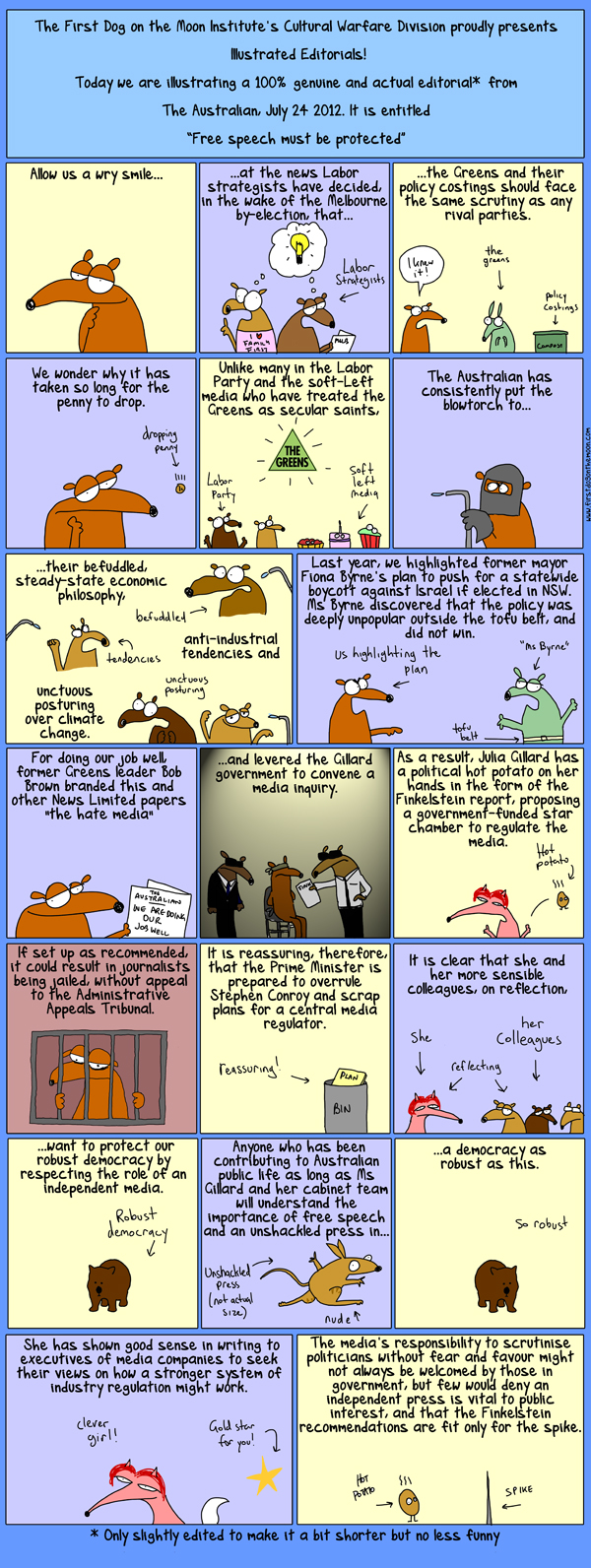 First Dog's Illustrated Editorials! Today: The Australian.