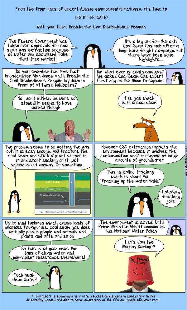 Hey kids, it's Brenda the Civil Disobedience Penguin!