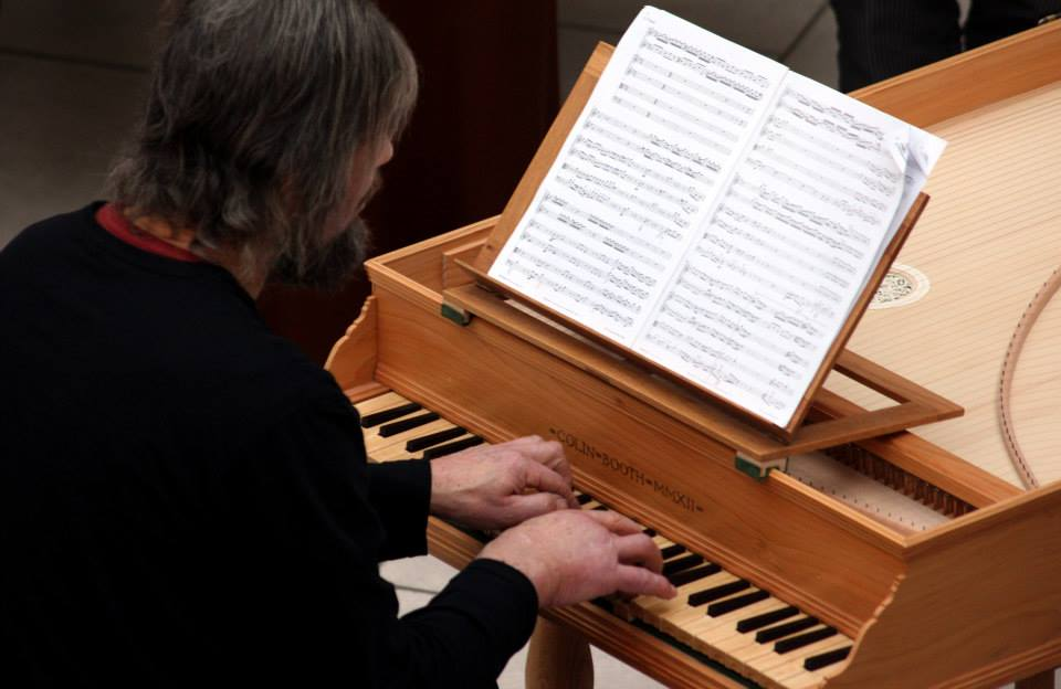 Italian single strung harpsichord made by Colin Booth who has been an important part of recent Sligo Festival of Baroque Music, as harpsichordist, bringing a number of instruments, as technician and as maker talking about technical, historical and aesthetic aspects.