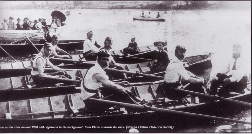 Rowing on the Nepean River near the now Tench Reserve Jetty, c. 1900