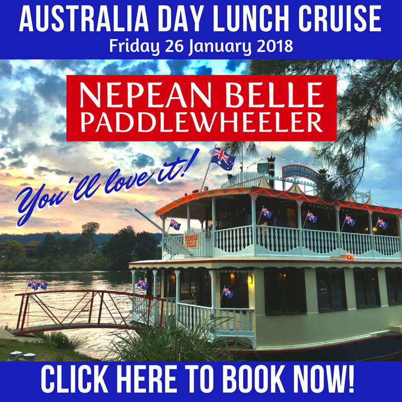 Australia day Lunch Cruise Nepean Belle Sydney Penrith