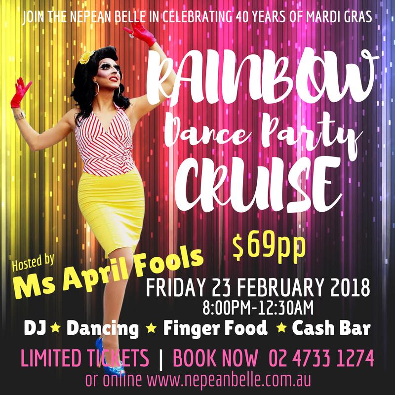 Rainbow Cruise Nepean Belle Mardi Gras 2018