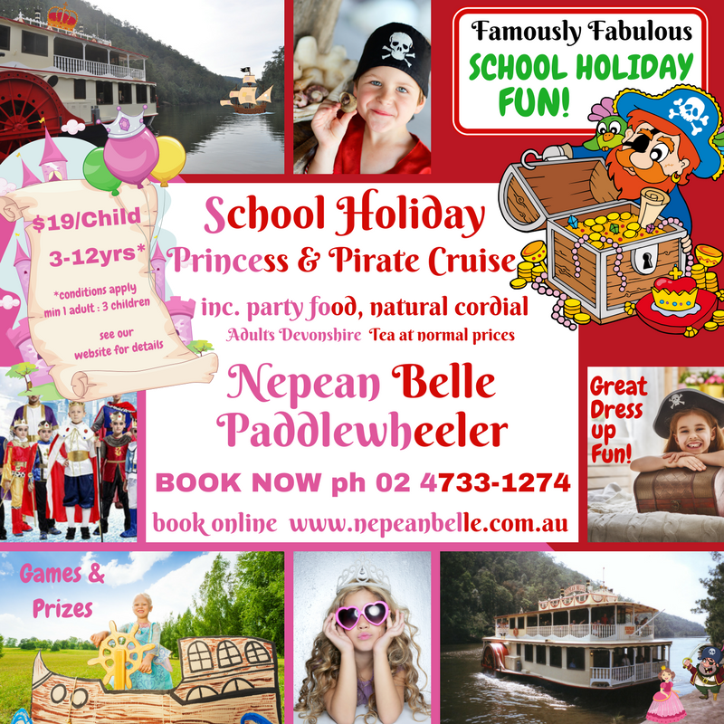 School holiday fun cruise pirate kids penrith nepean river