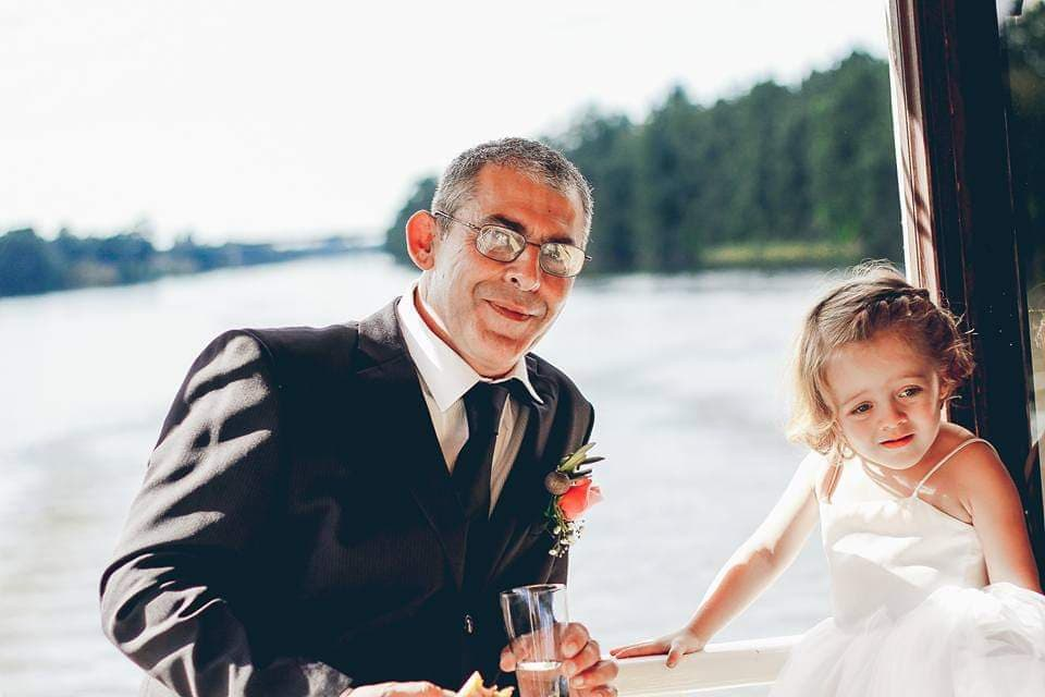 Belle wedding groom child kid river deck.jpg