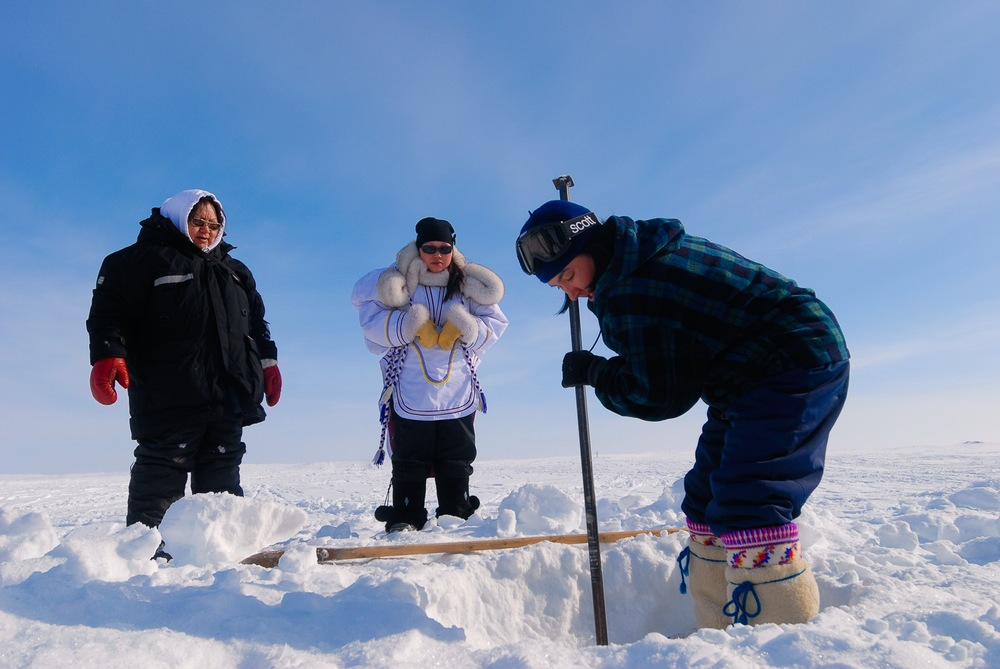 Ice Chiseling For Fresh Water - Puvirnituq, Nunavik, Canadian Arctic