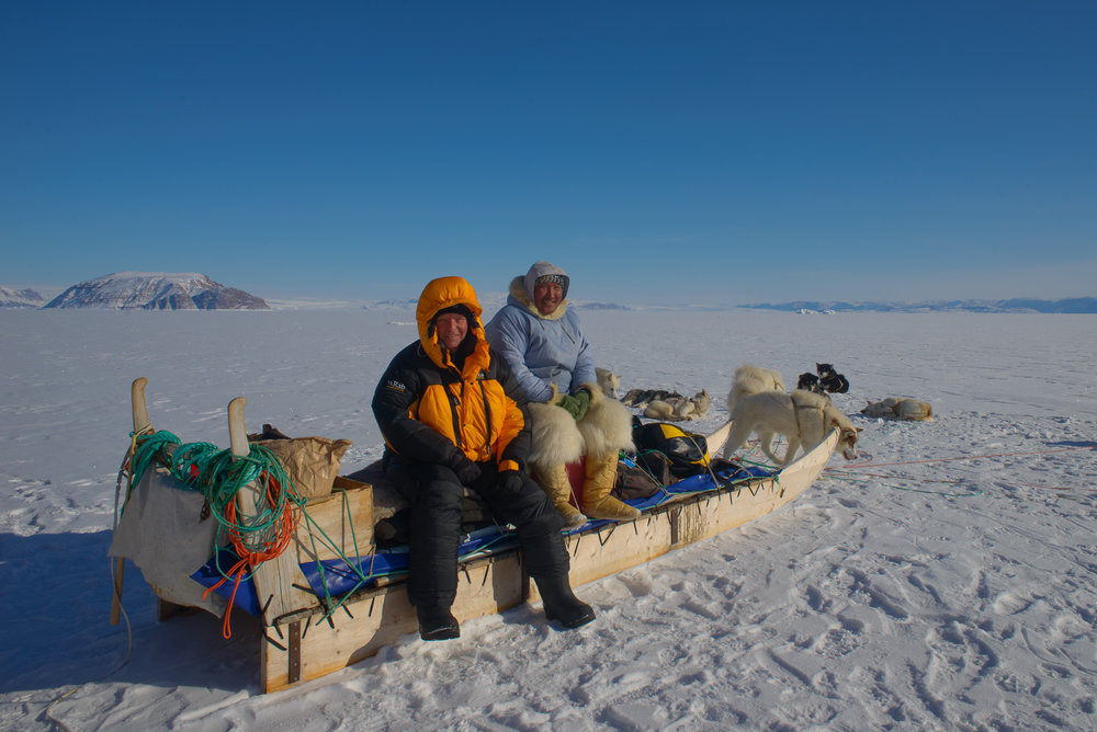 Steve and Ilonguak Take a Break on the Sea Ice - Thule, Greenland