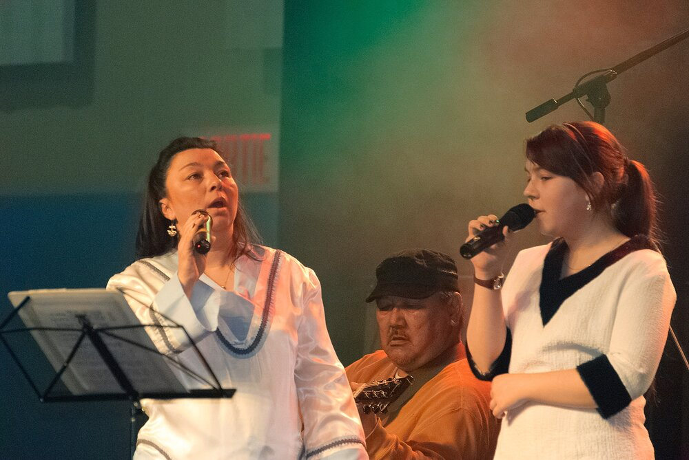 Morther and Daughter Singing at the Festival - Puvirnituq, Nunavik, Canadian Arctic