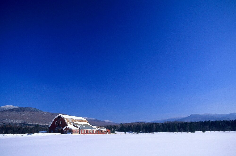 Red Barn in Winter - Lost Nation, New Hampshire
