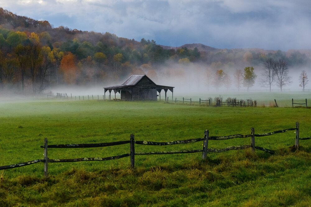 Barn in Autumn Mist