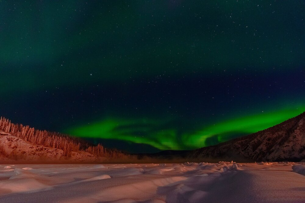 Northern Lights Over The Yukon River - Dawson, Yukon Territory, Canada