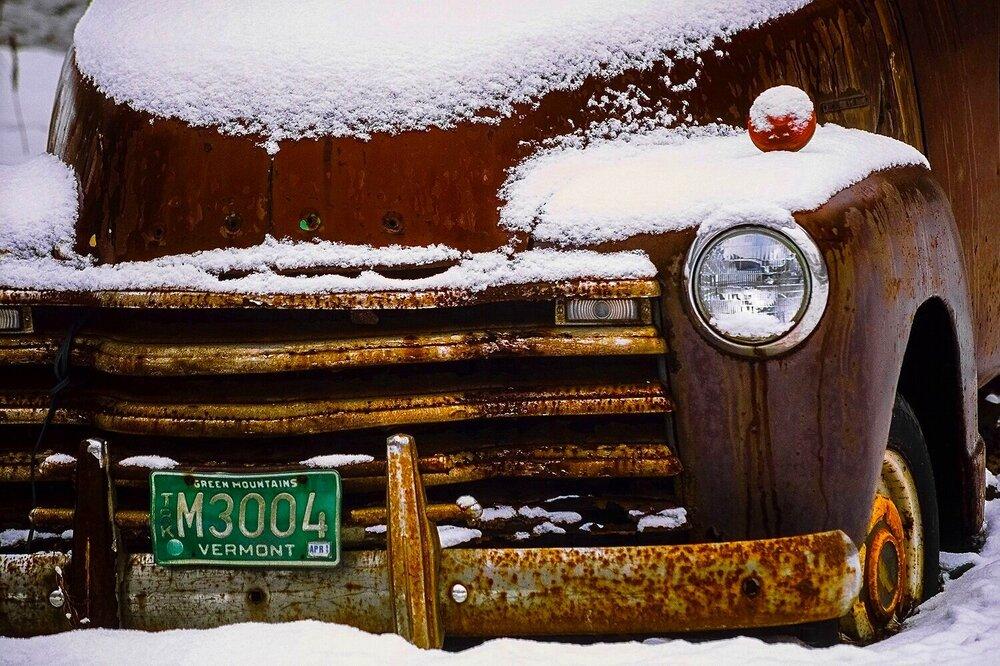 Vintage Truck in Snow - Vermont