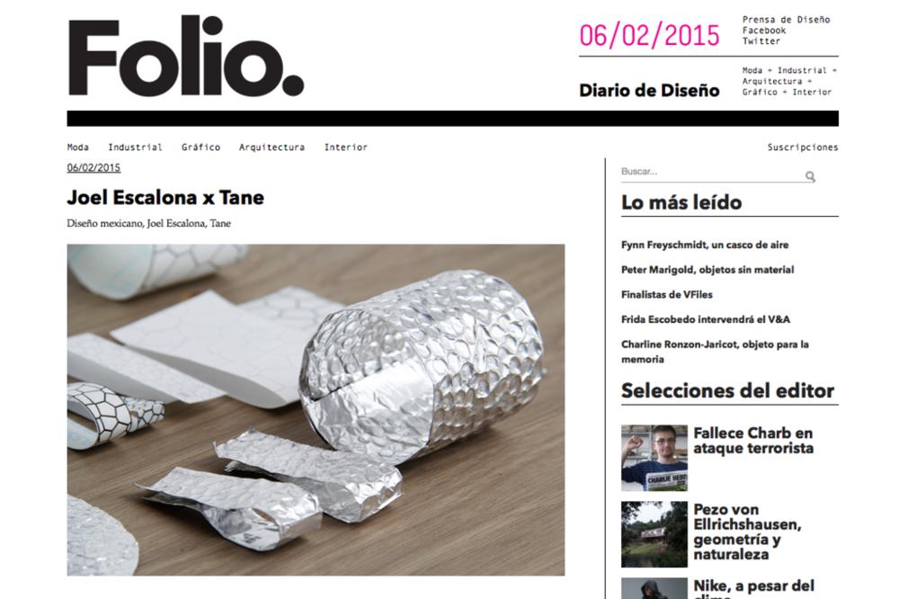 Folio revista digital de diseño habla sobre nuestra colaboración con TANE