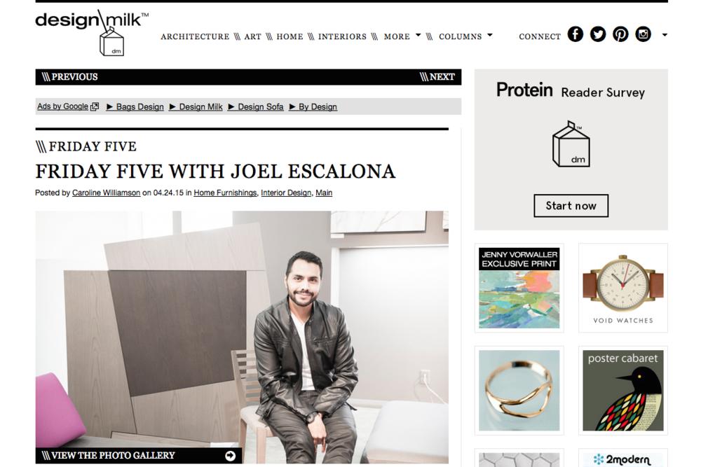 El famoso sitio especializado invita a Joel Escalona a hablar de sus 5 cosas favoritas.
