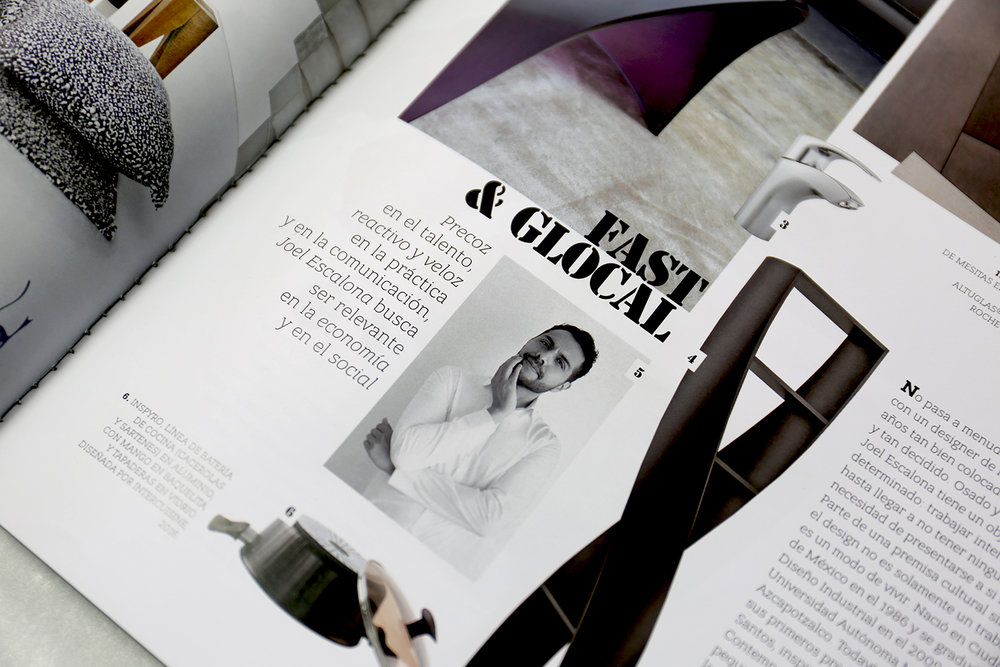 Diseños de Joel Escalona en el más reciente número de la revista Interni. Octubre - Diciembre — 2016