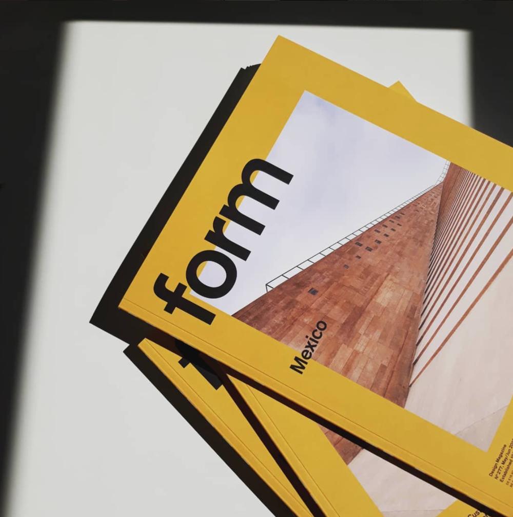 El trabajo del Estudio publicado en  F orm Design Magazine   junto con otros diseñadores de México.