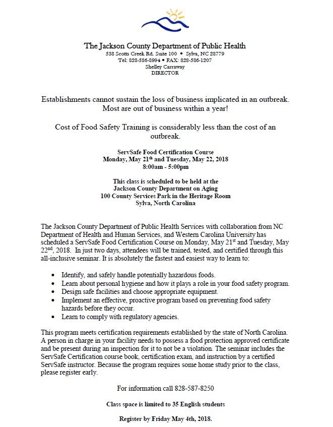 ServSafe — Jackson County Department of Public Health
