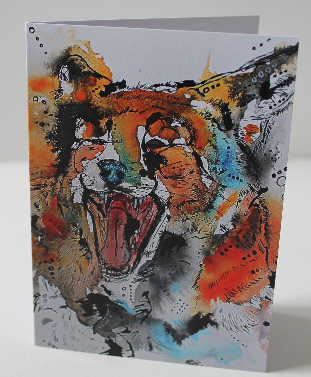 Yawning Fox watercolour
