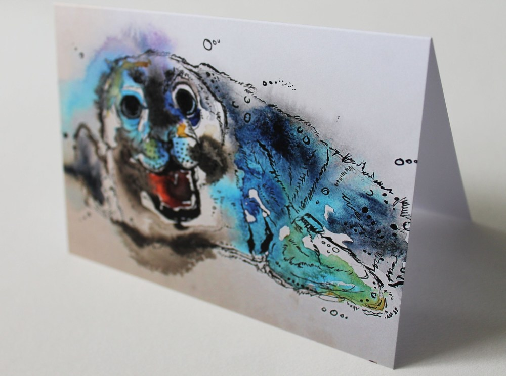 Grey Seal Pup Greetings Card