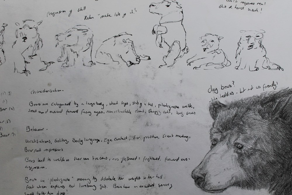 These are some examples from my sketchbook, this page showing some quick continuous line drawings and research.
