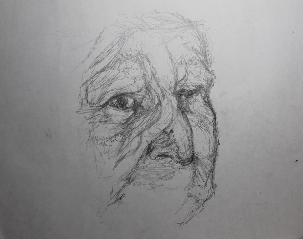 Line Drawing Face : Elderly continuous line drawing u oddkness