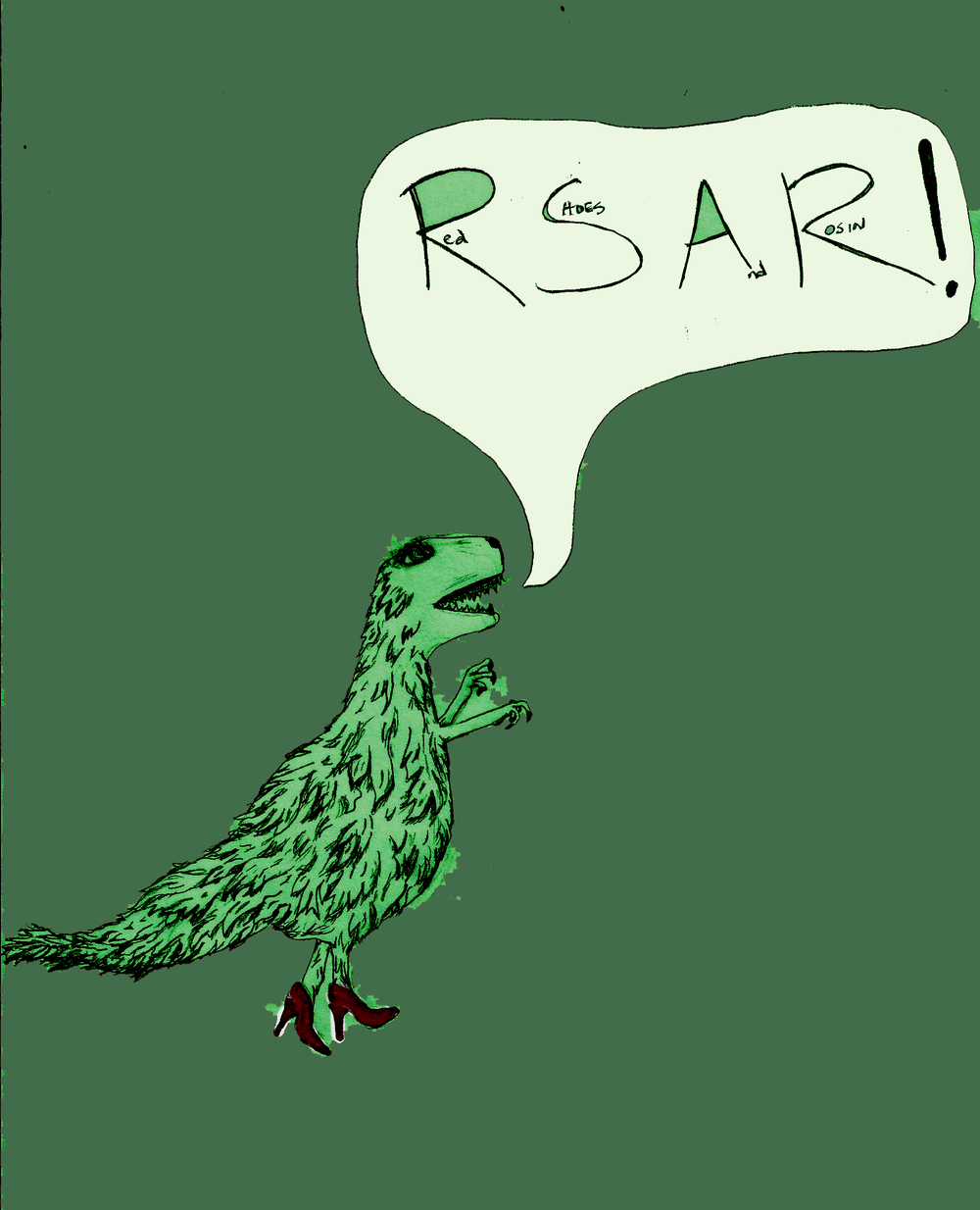 ere is the RSARasaurus (pronounced arr-ess-ARr-asaurus). Artistic credit goes to band members Shawna Cyphers and Jessica Watson. ©Red Shoes & Rosin