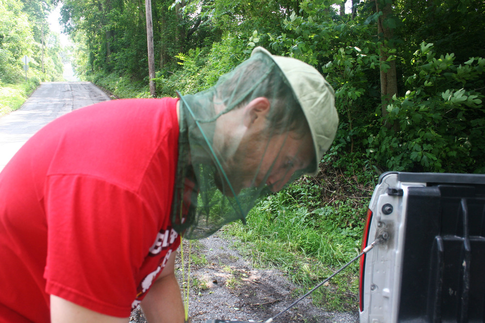 Testing the mosquito hat.