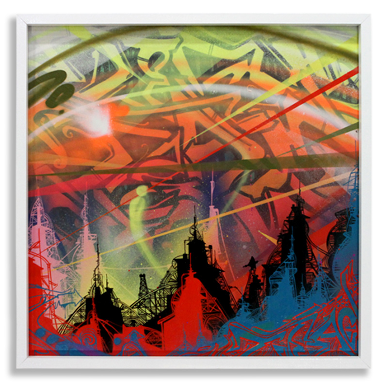 "Acid City Vol. 2: Pure Bliss I Spray Paint & Acrylic on Cradled Wood Panel 25"" x 25"" $500"