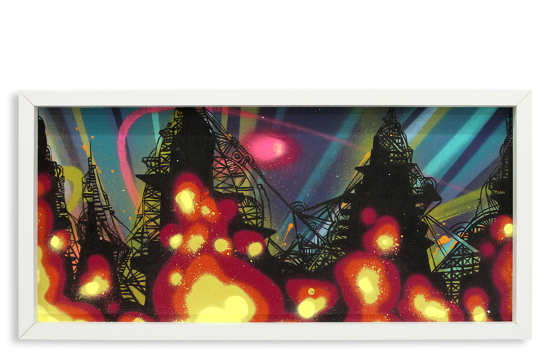 "Acid City Vol. 2 V  Spray Paint & Acrylic on Cradled Wood Panel 11"" 1/2 x 24"" $250"