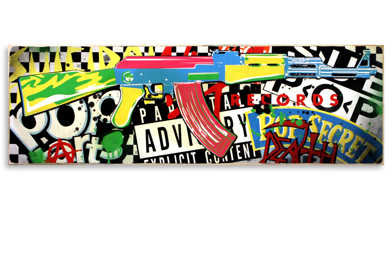 "Denial Pop Art Killer (Black)  Mixed Media on Cradled Wood Panel 36"" x 12"" $600  SOLD"