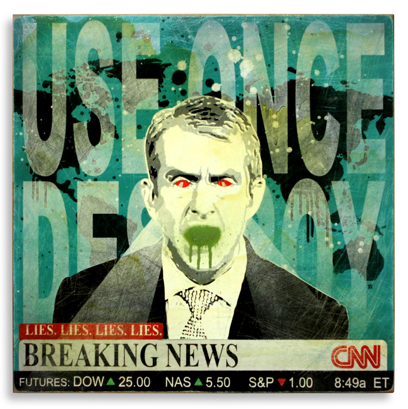 "Denial Breaking News  Spray Paint on Wood 24"" x 24""  SOLD  Edition Size: 4"