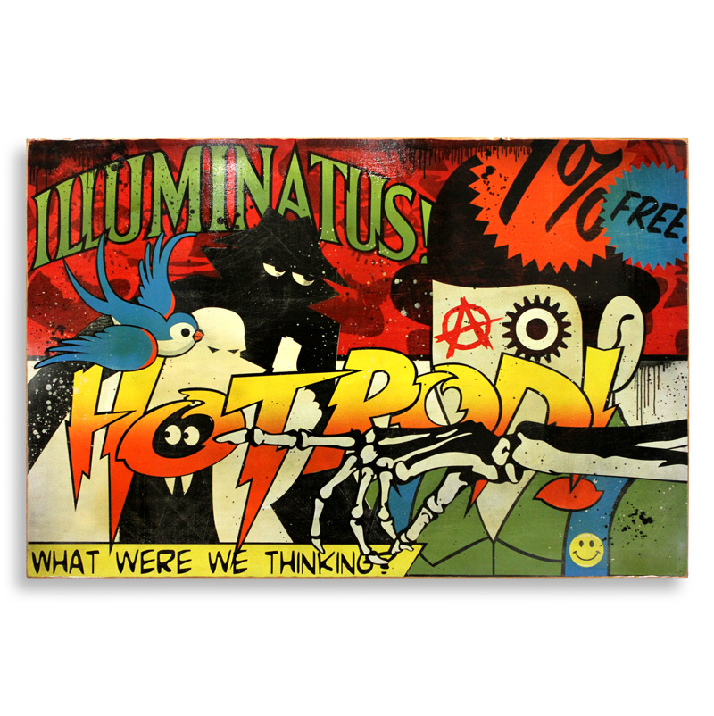 "Denial Illuminatus  Spray Paint on Wood 72"" x 48""  SOLD"