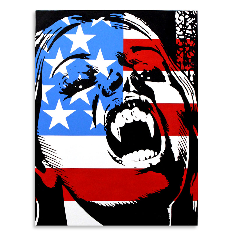 "Ben Frost Vampire USA  Acrylic & Aerosol on Board 24"" x 32""  SOLD"