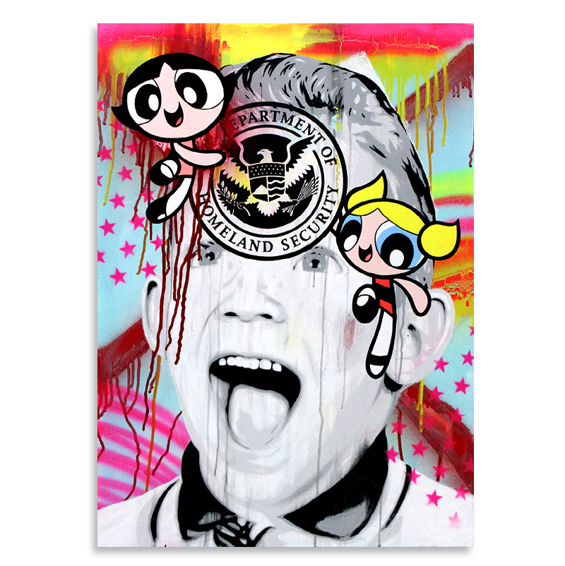 "Ben Frost Home Skooled  Acrylic & Aerosol on Board 24"" x 33"" $1,000  SOLD"