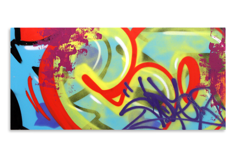 "Detroit Series 23 Aerosol on Wood 34"" x 16"" $850"