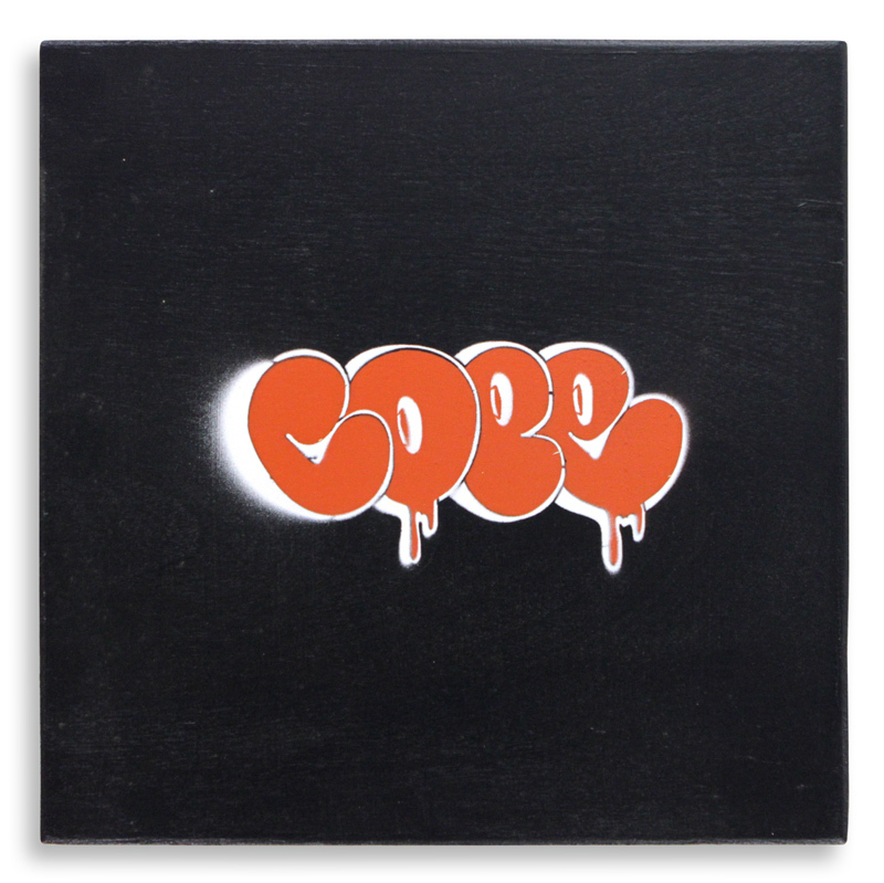 "Detroit Stencil Series 1 Aerosol on Wood 12"" x 12"" $250 SOLD"