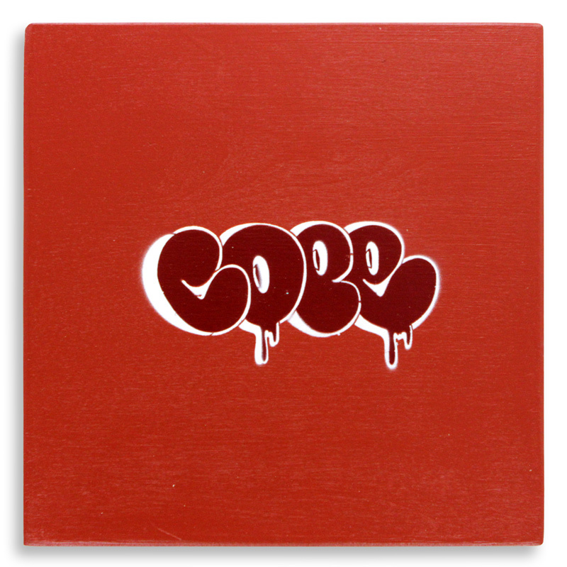 "Detroit Stencil Series 12 Aerosol on Wood 12"" x 12"" $250 SOLD"