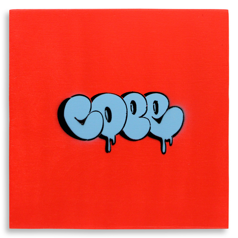 "Detroit Stencil Series 19 Aerosol on Wood 12"" x 12"" $250 SOLD"