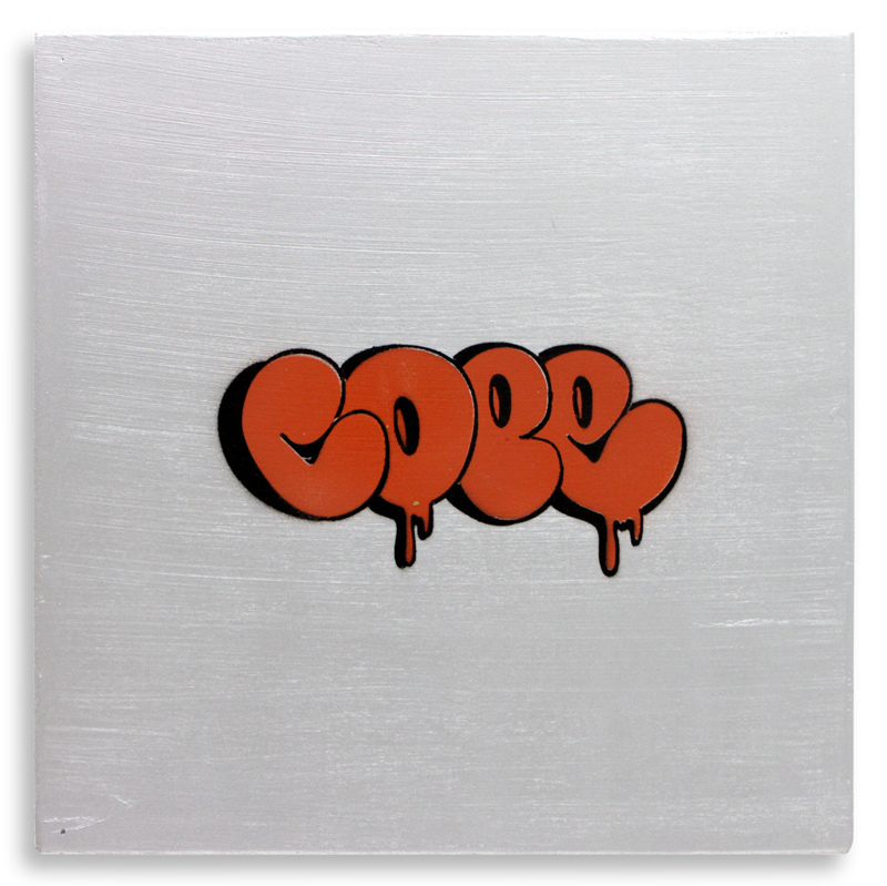 "Detroit Stencil Series 9 Aerosol on Wood 12"" x 12"" $250 SOLD"