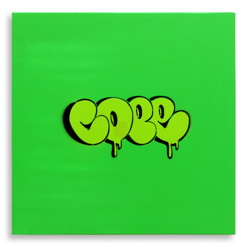 "Detroit Stencil Series 13 Aerosol on Wood 12"" x 12"" $250 SOLD"