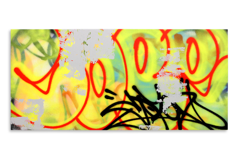 "Detroit Series 19 Aerosol on Wood 34"" x 16"" $850"