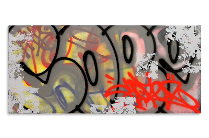 "Detroit Series 20 Aerosol on Wood 34"" x 16"" $850"